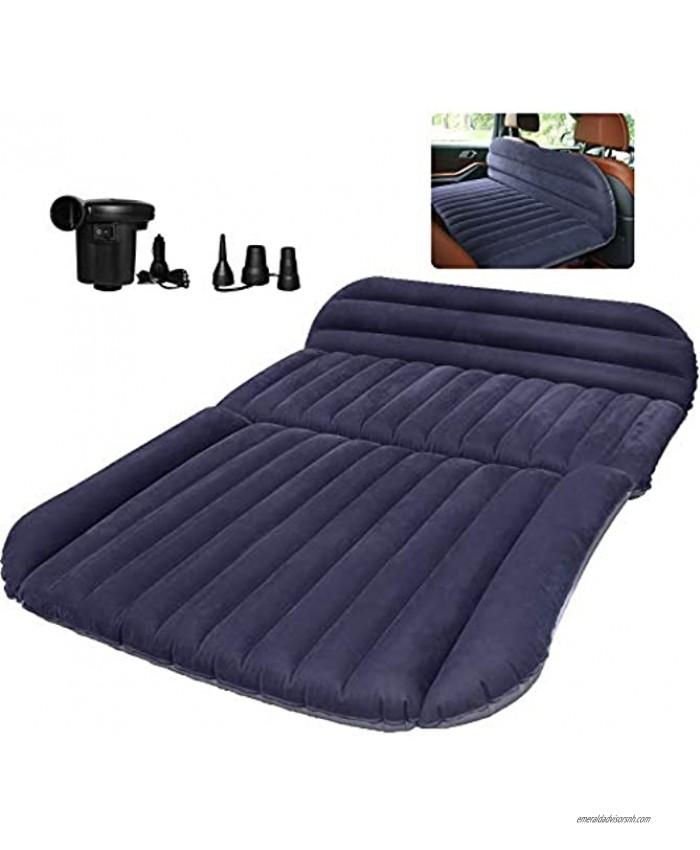 QDH SUV Air Mattress-Thickened Car Bed Back Seat Mattress-Portable Car Mattress for Vehicle Cushion Air Bed Inflatable Mattress with Air-Pump-Camping Blow Up Mattress for car Blue and Black