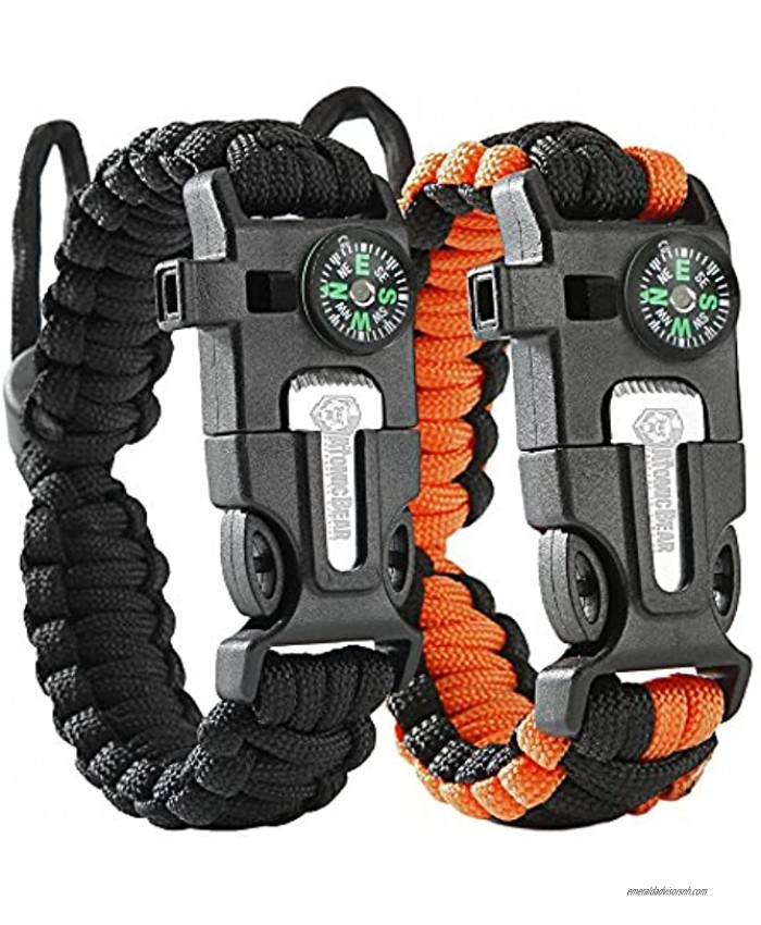 Atomic Bear Paracord Bracelet 2 Pack Adjustable Fire Starter Loud Whistle Perfect for Hiking Camping Fishing and Hunting Black & Black+Orange