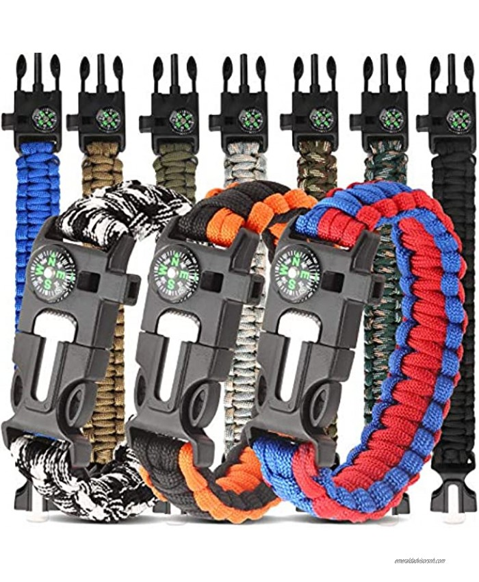 HNYYZL 10 Pack Paracord Bracelet Kit Outdoor Survival Bracelet Camping Hiking Gear with Compass Fire Starter Whistle and Emergency Knife