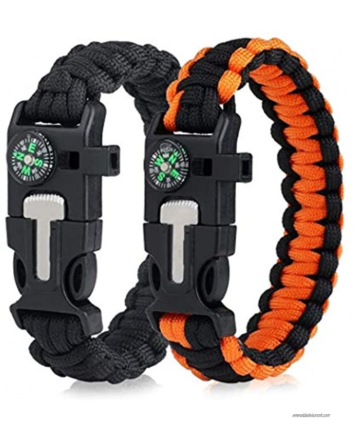 Wollet Survival Paracord Bracelets EDC Tactical Bracelet,Multifunction Camping Hiking Gear with Compass Fire Starter Whistle and Emergency Knife for Outdoor -2 Pack