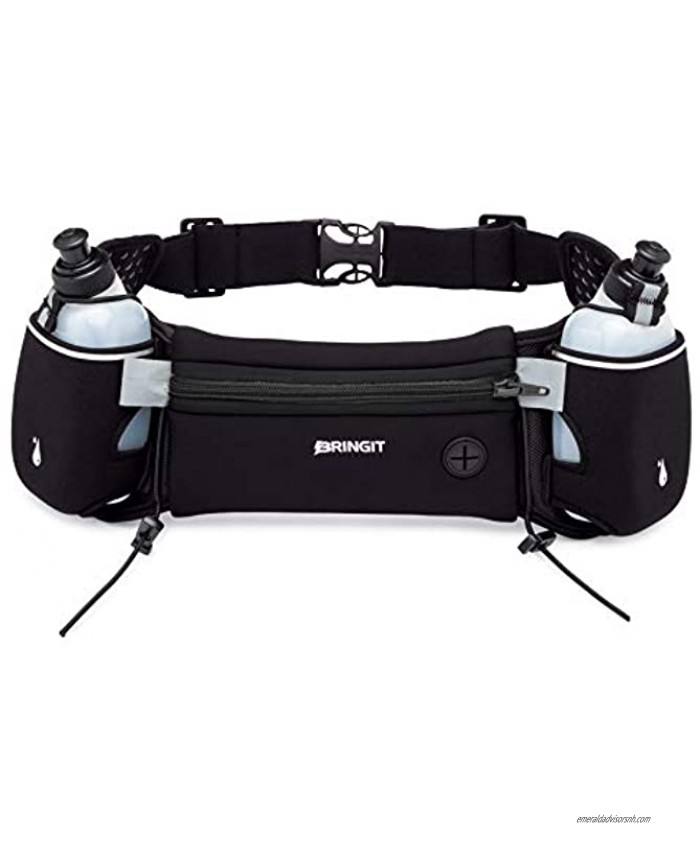 Running Belt with Water Bottles   Running Hydration Belt has Water Resistant Waist Pack to Fit iPhone Samsung Android etc   Adjustable Belt   10oz Bottles   Attach Race Number   Hiking & Cycling
