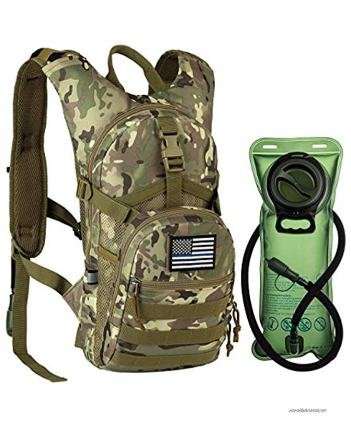 RUPUMPACK Tactical Molle Hydration Backpack with 2L Water Bladder Military Daypack for Hiking Running Biking