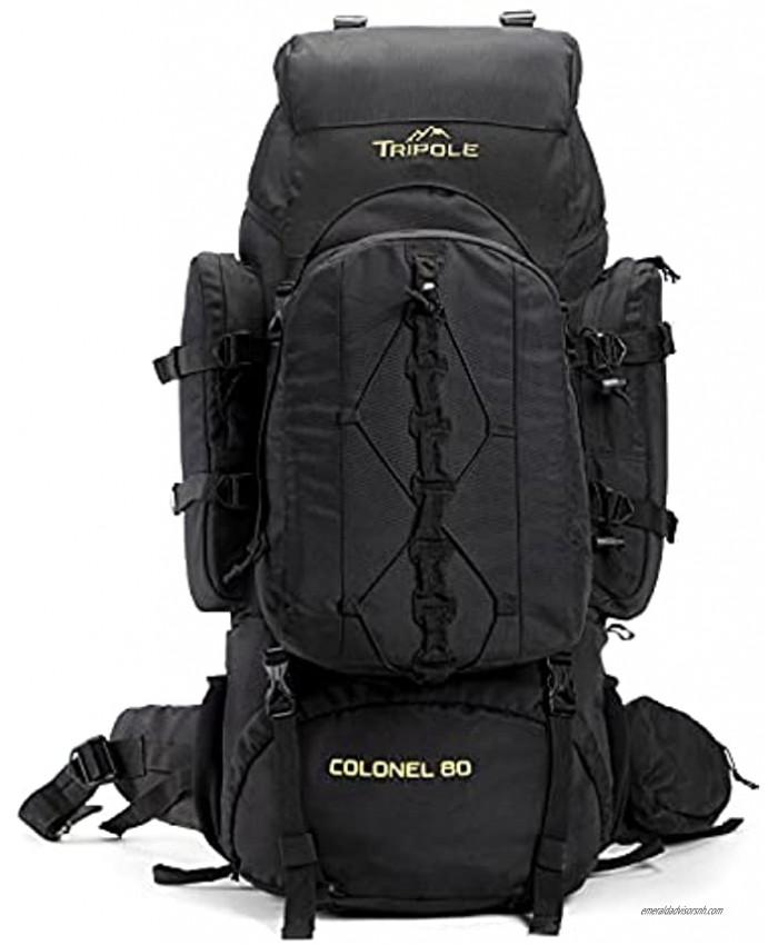 Tripole Colonel 80 Litres Internal Frame Rucksack + Detachable Day Pack Rain Cover Black