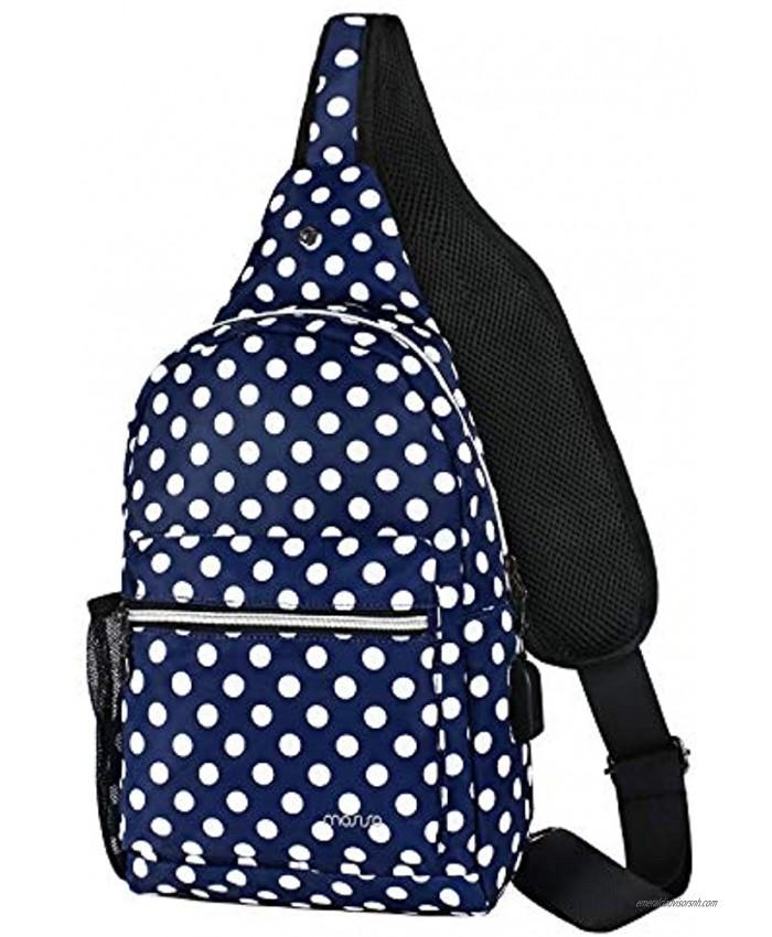 MOSISO Sling Backpack Shoulder Bag with USB Port Blue Base White Dot